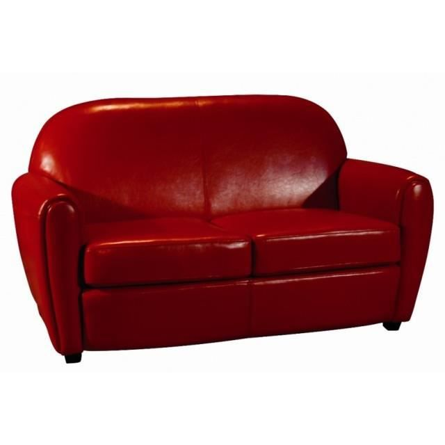 Canap club rouge achat vente canap sofa divan for Canape rouge