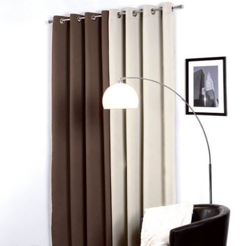rideau oeillets occultant satin chocolat achat vente rideau oeillets occultant soldes. Black Bedroom Furniture Sets. Home Design Ideas