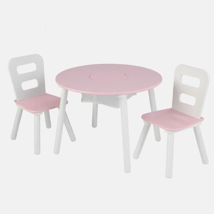 Kidkraft table avec rangement chaises blanc et rose for Table avec rangement chaise