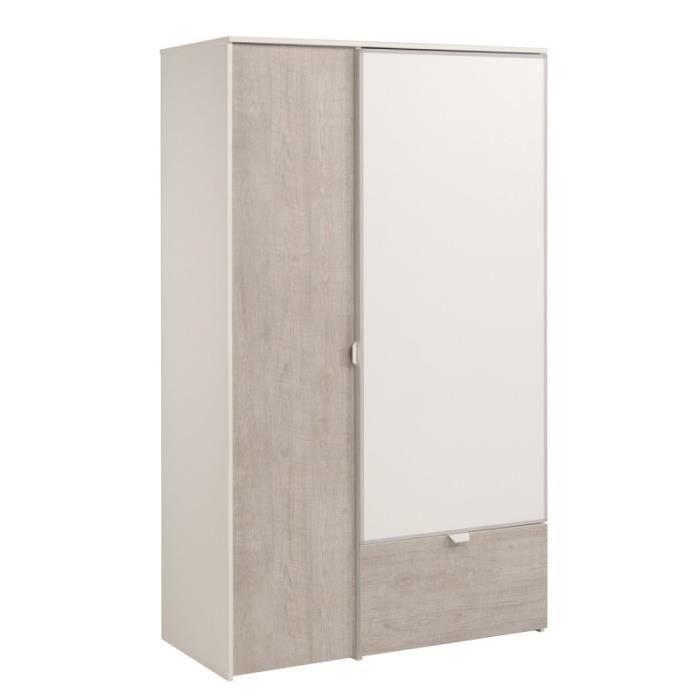 Paris prix armoire 2 portes nybro 183cm blanc gris for Prix porte de chambre