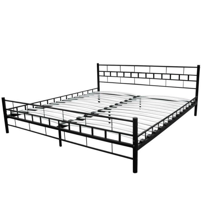 lit adulte m tal 180x200 moderne achat vente lit. Black Bedroom Furniture Sets. Home Design Ideas