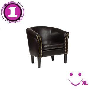 Fauteuil simili cuir marron achat vente fauteuil - Fauteuil simili cuir marron ...