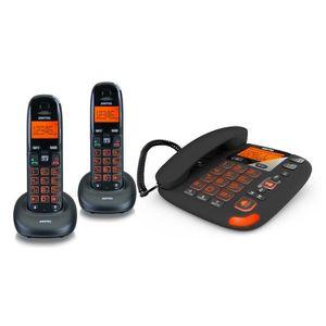 Téléphone fixe Pack 3 Téléphones 1 fixe et 2 portables répondeur
