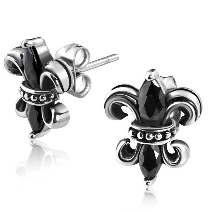 boucles d 39 oreilles fleur de lys mod le style gothique achat vente boucle d 39 oreille boucles d. Black Bedroom Furniture Sets. Home Design Ideas