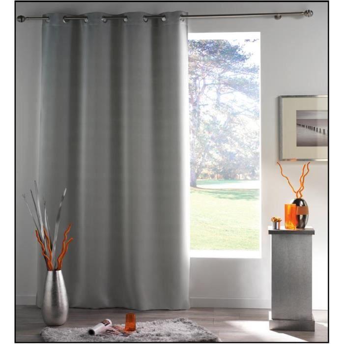 rideau panneau opaque 140 x 240 cm gris souris achat vente rideau cdiscount. Black Bedroom Furniture Sets. Home Design Ideas