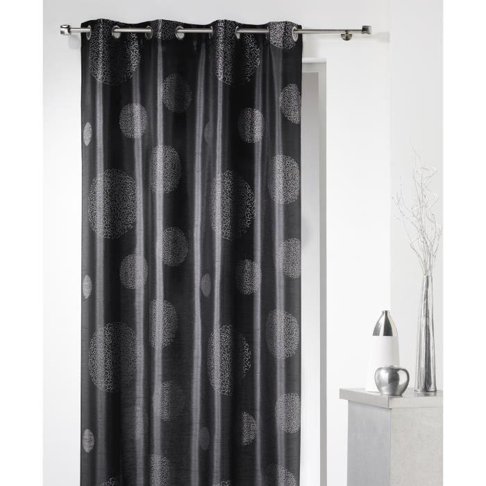 rideau panneau galaxy 140 x 240 cm illets noir achat vente rideau cdiscount. Black Bedroom Furniture Sets. Home Design Ideas