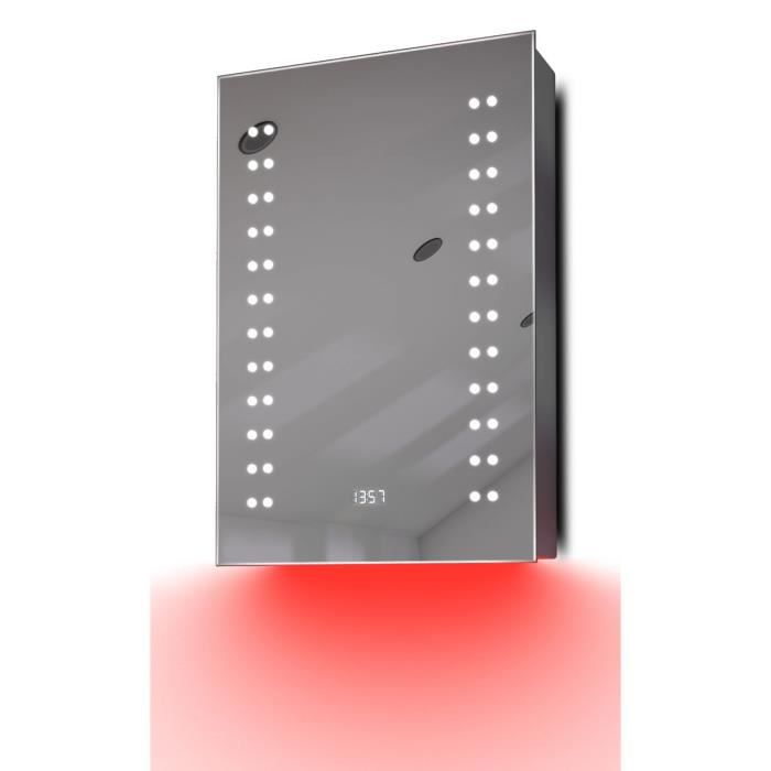 armoire de toilette anti bu e avec capteur prise rasoir et horloge k382r gris taille h 600mm. Black Bedroom Furniture Sets. Home Design Ideas
