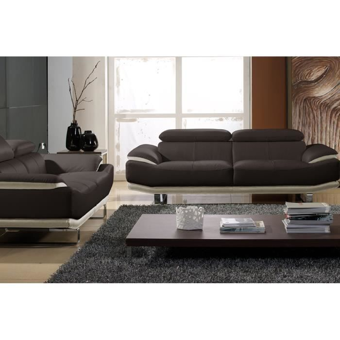 salon cuir 3 2 places beige marron sup rieur osmoz achat vente canap sofa divan. Black Bedroom Furniture Sets. Home Design Ideas