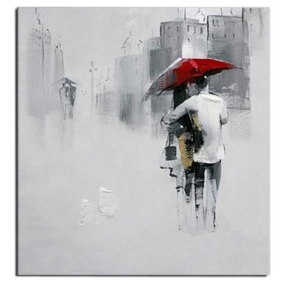 Tableau ville rue new york couple amour au parapluie rouge peinture huile toi - Tableau peinture al huile ...