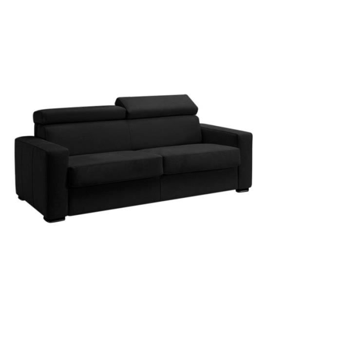 canap convertible omega tissu noir lit 120x190 achat vente canap sofa divan tissu. Black Bedroom Furniture Sets. Home Design Ideas