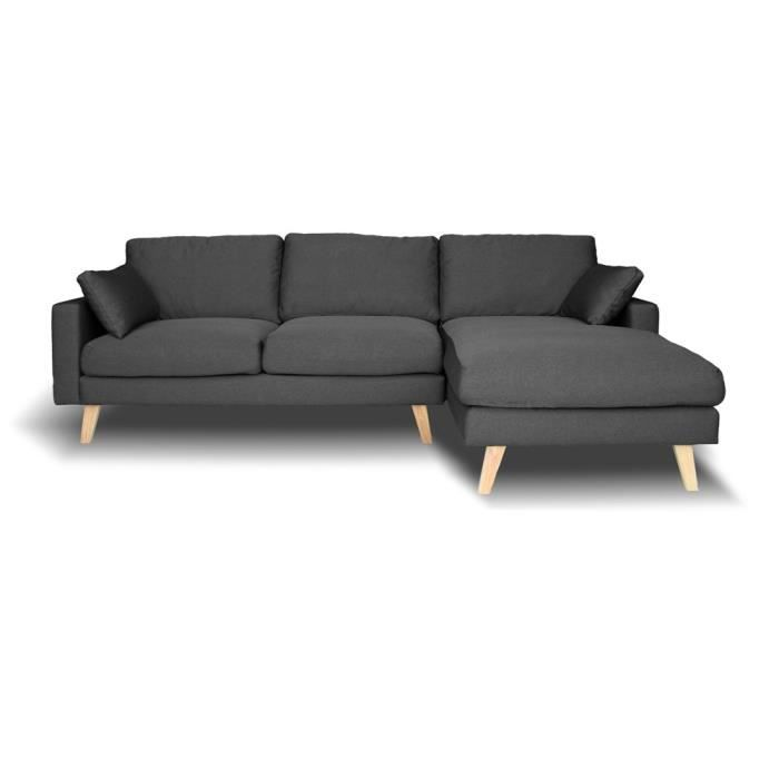 Canap d 39 angle droit switsofa vasby tissu gris achat vente canap sofa divan cdiscount for Canape angle droit tissu lille