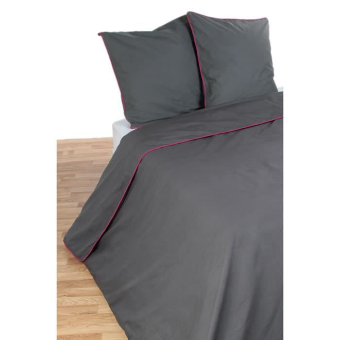 parure de couette gris fushia achat vente parure de couette cdiscount. Black Bedroom Furniture Sets. Home Design Ideas