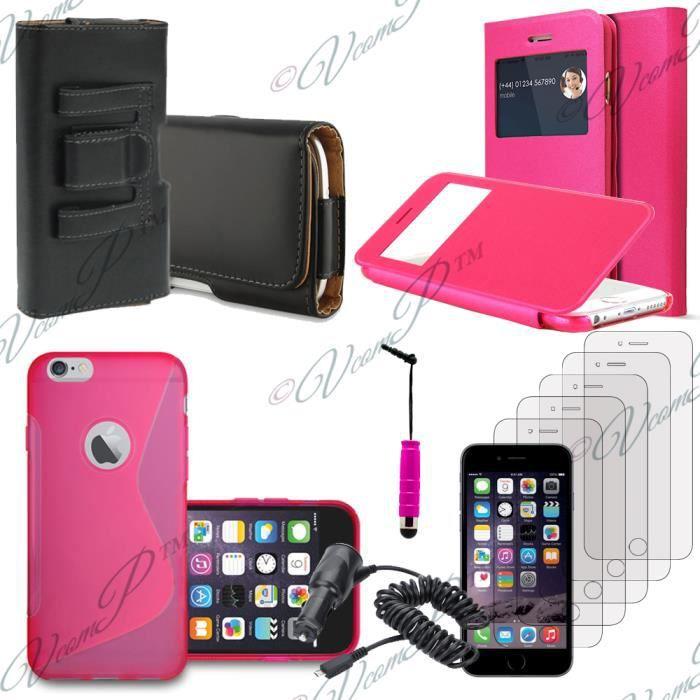 accessoires chargeur voiture cuir clip ceinture s view pour apple iphone 6 rose achat. Black Bedroom Furniture Sets. Home Design Ideas