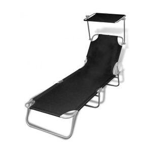 Chaise longue transat noir achat vente chaise longue for Chaise longue noire