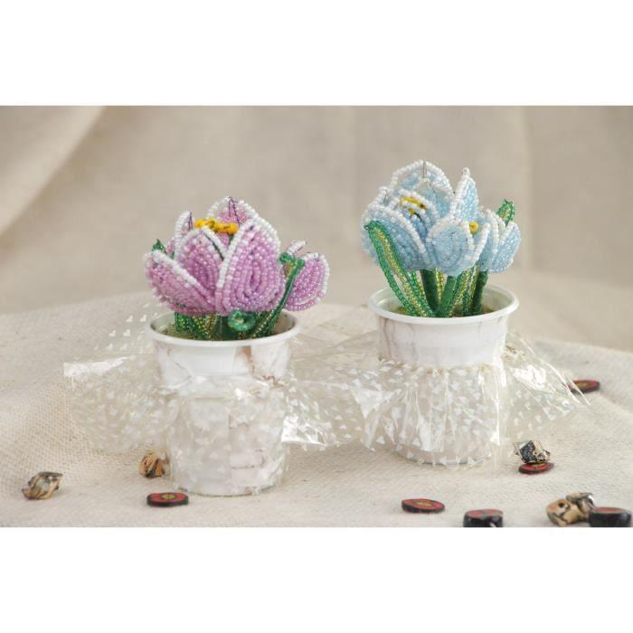 fleurs en perles de rocaille chinoises faites main crocus d cor 2 pi ces achat vente fleur. Black Bedroom Furniture Sets. Home Design Ideas