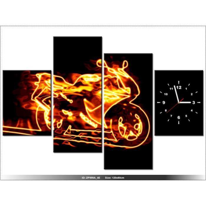 120 x 80 cm moto horloge murale tableau moderne deco new design achat vente. Black Bedroom Furniture Sets. Home Design Ideas