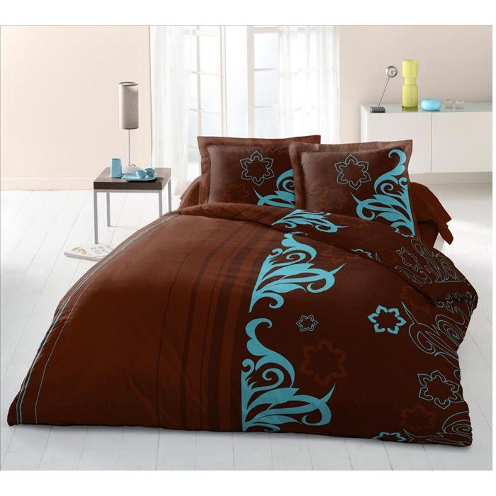 Drap housse arabesque blue 160x200cm 100 coton achat for Drap housse 100 x 200