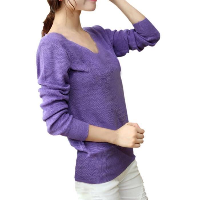 hee grand femme pull col v violet violet achat vente pull cdiscount. Black Bedroom Furniture Sets. Home Design Ideas