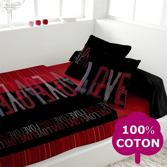 soleil d 39 ocre love parure de lit noire 240x300cm achat. Black Bedroom Furniture Sets. Home Design Ideas