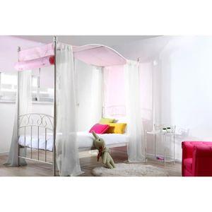 lit baldaquin blanc achat vente lit baldaquin blanc pas cher les soldes sur cdiscount. Black Bedroom Furniture Sets. Home Design Ideas