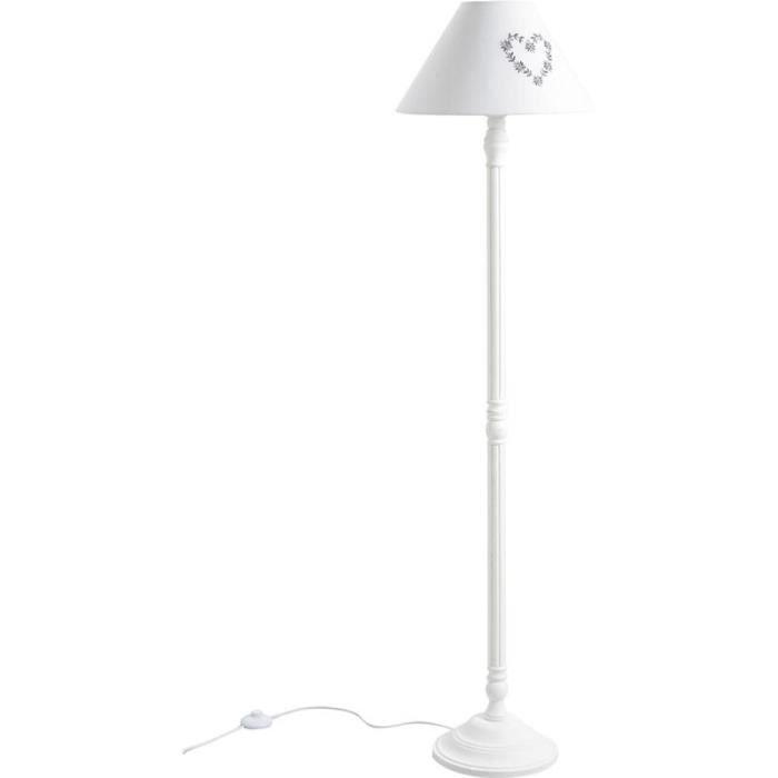 lampadaire en bois blanc 38 h 150 cm achat vente. Black Bedroom Furniture Sets. Home Design Ideas