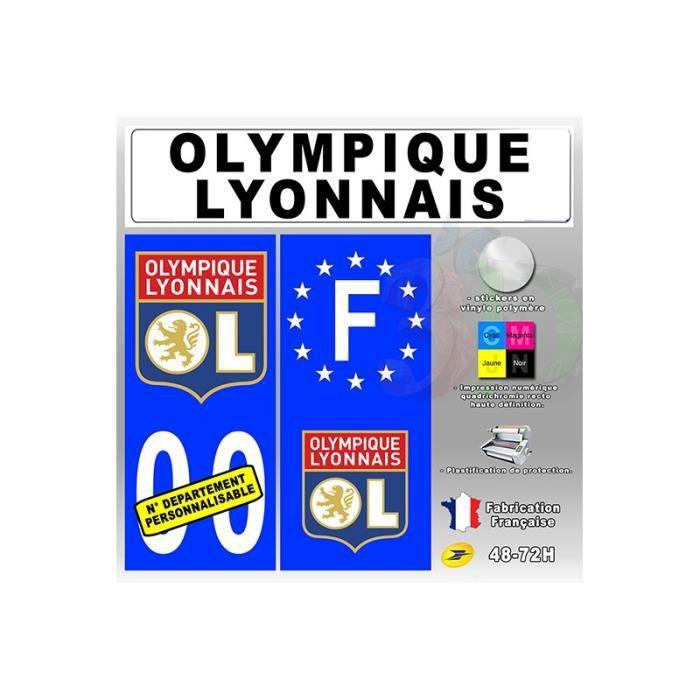 4x stickers plaques auto fond bleu olympique lyonnais achat vente stickers cdiscount. Black Bedroom Furniture Sets. Home Design Ideas