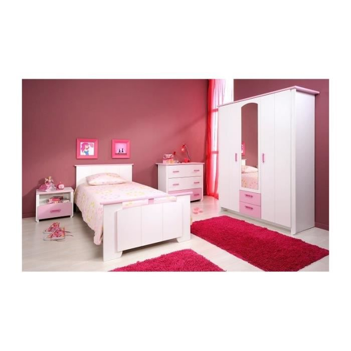 Chambre fille blanche et rose avec armoire 3 portes candy for Chambre complete blanche