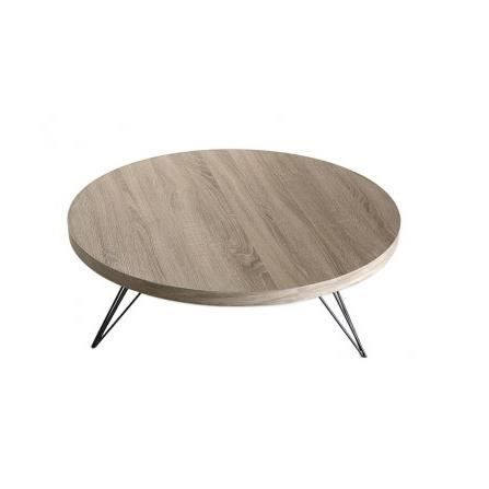 Table basse design ronde en bois et m tal noir achat for Table bois metal design