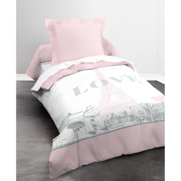 Today parure de couette 100 coton paris my love 1 - Housse de couette rose et grise ...
