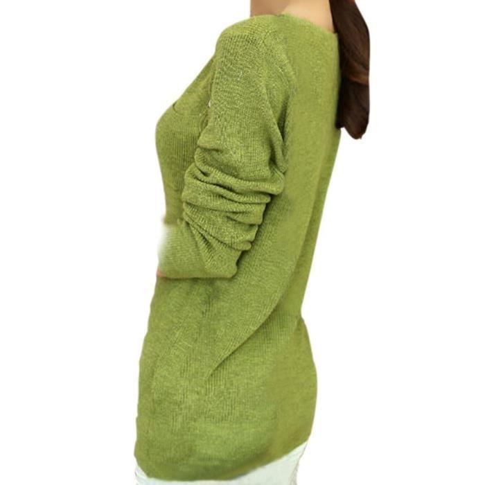 hee grand femme pull col v vert moutarde vert moutarde achat vente pull cdiscount. Black Bedroom Furniture Sets. Home Design Ideas