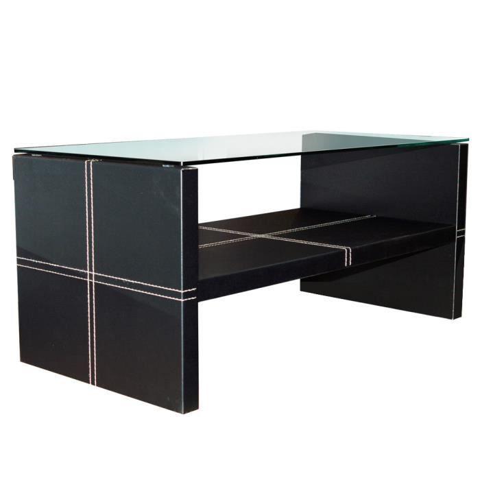 Edge table basse en verre noir achat vente table for Table basse noir en verre