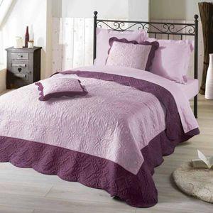 couvre lit boutis violet achat vente couvre lit boutis violet pas cher cdiscount. Black Bedroom Furniture Sets. Home Design Ideas