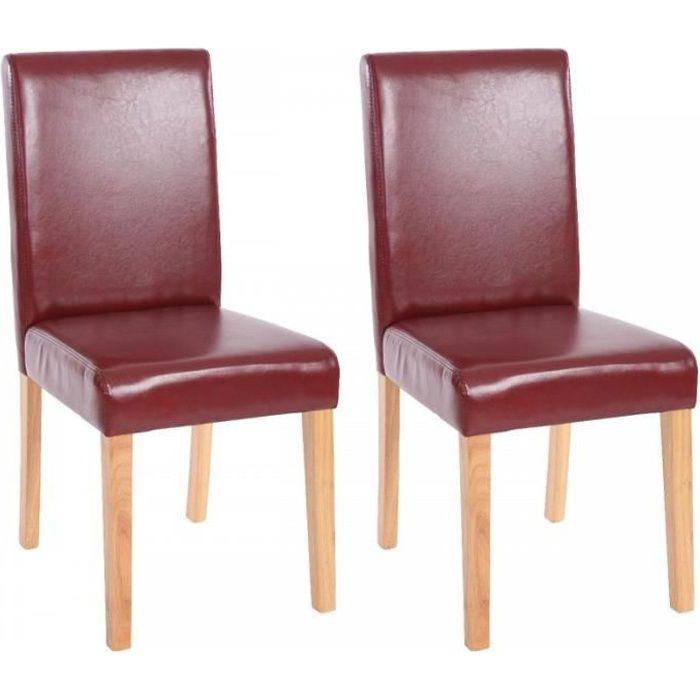 Lot de 2 chaises de salle manger simili cuir rouge brun for Chaise de salle a manger brun