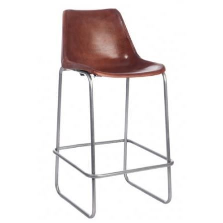 tabouret haut de bar vintage en m tal et cuir c achat vente tabouret de bar m tal cuir. Black Bedroom Furniture Sets. Home Design Ideas
