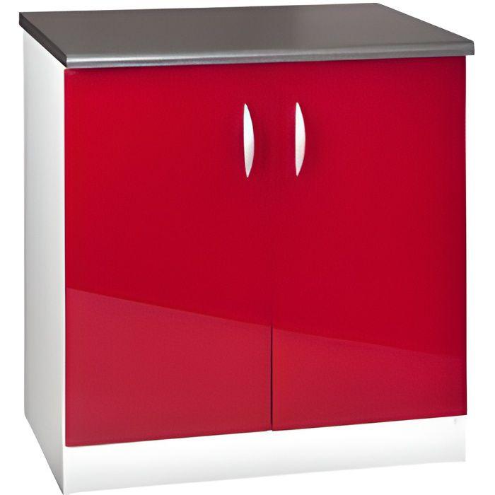 Meuble cuisine bas 80 cm 2 portes oxane rouge achat vente elements bas meuble cuisine bas 80 for Portes elements cuisine
