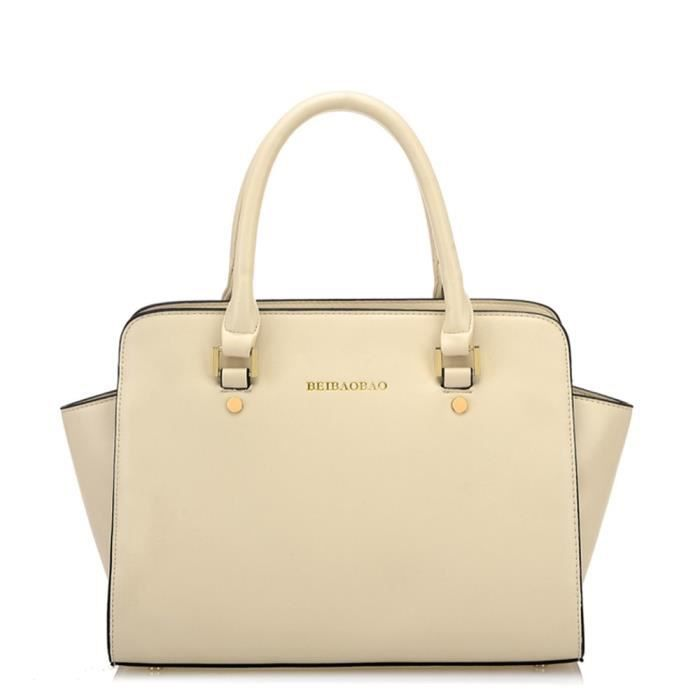 Sac A Main Beige Grand : Grand sac ? main femme en cuir beige achat vente