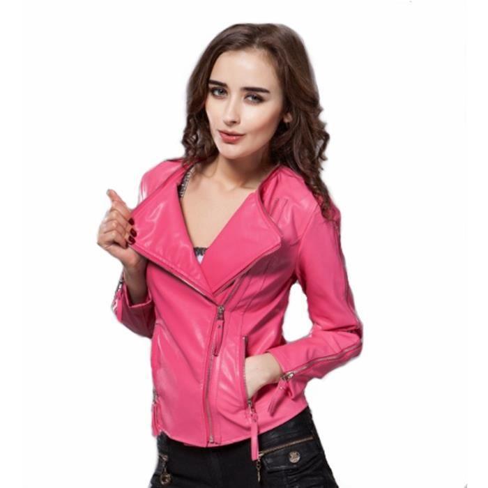 veste femme en cuir rose blazer rose fushia blouson fille tendance en cuir pu s 39 habiller en. Black Bedroom Furniture Sets. Home Design Ideas