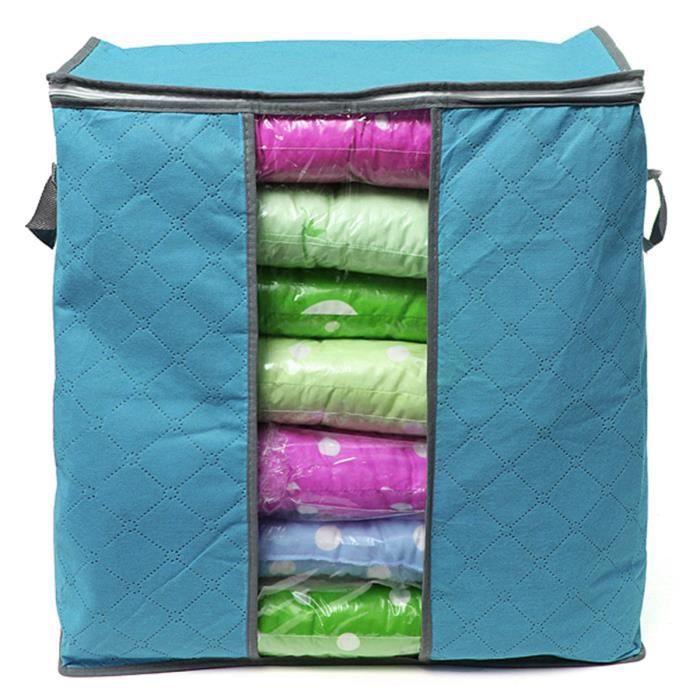 housse de rangement tissu charbon de bambou pour couette v tement stockage sac bo te pliable. Black Bedroom Furniture Sets. Home Design Ideas