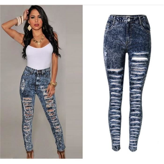 pantalon femme slim taille haute jeans femme dechire pantalon slim taille haute x e. Black Bedroom Furniture Sets. Home Design Ideas