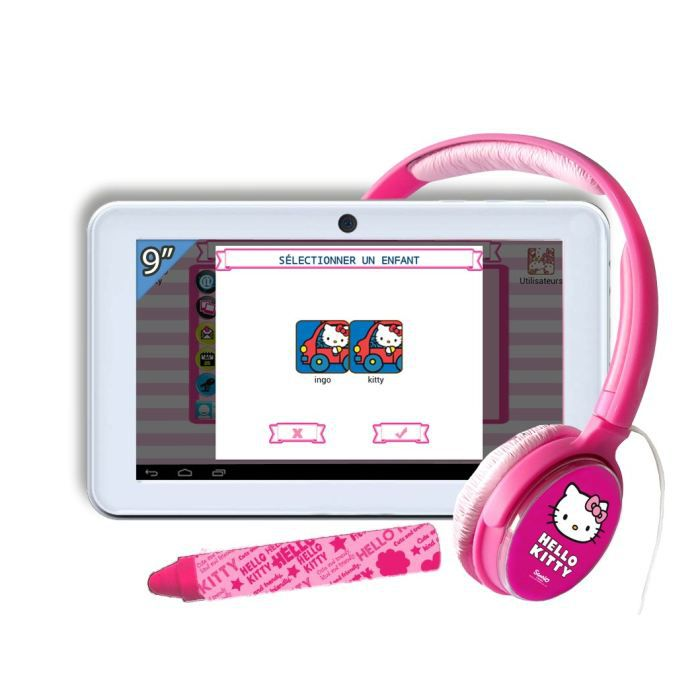 juniors console multimedia pack tablette tactile hello kitty  casque f ingheud