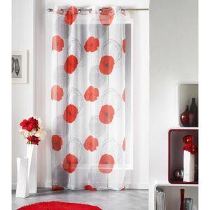 voilage blanc et rouge achat vente voilage blanc et rouge pas cher cdiscount. Black Bedroom Furniture Sets. Home Design Ideas