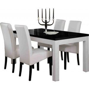 table a manger seule table salle manger roma blanc et noir l160cm sa - Salle A Manger Noir Et Blanc Pas Cher