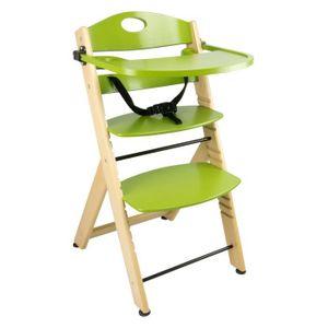 CHAISE Chaise Haute avec plateau en bois vert naturel