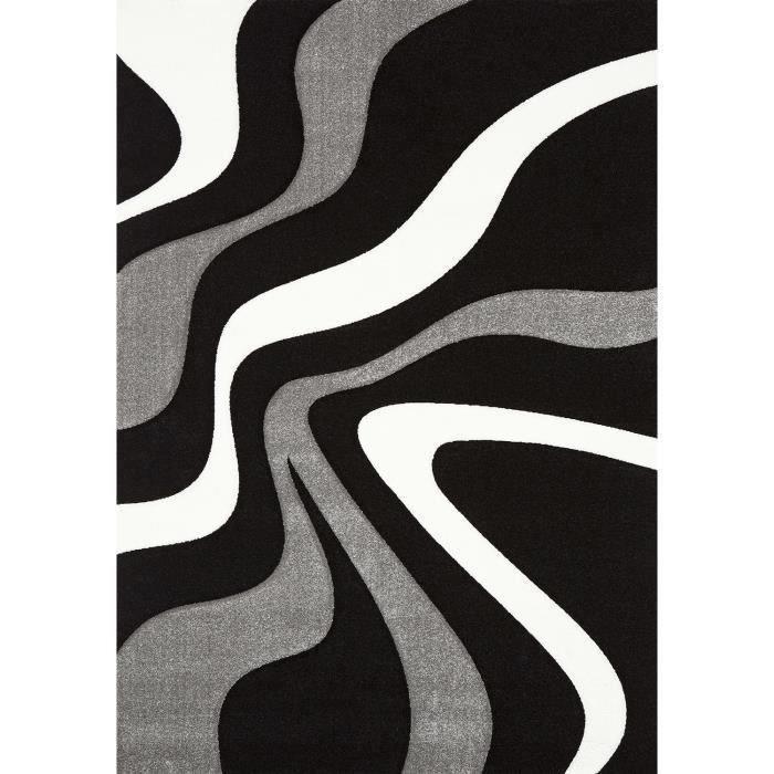 Diamond vagues tapis de salon 120x170 cm noir gris et blanc achat vente tapis 100 - Tapis blanc salon ...