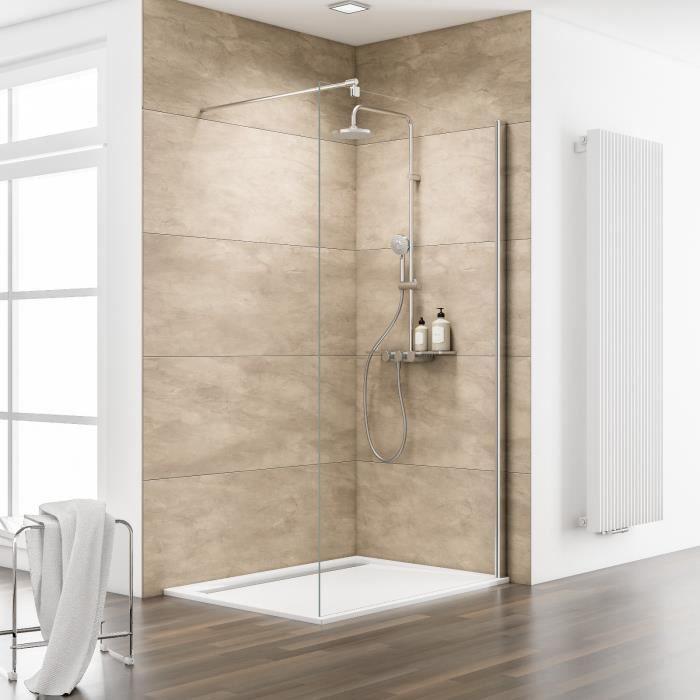 Paroi de douche fixe italienne walk in 120x200 cm verre transparent profil - Paroi fixe douche 120 ...