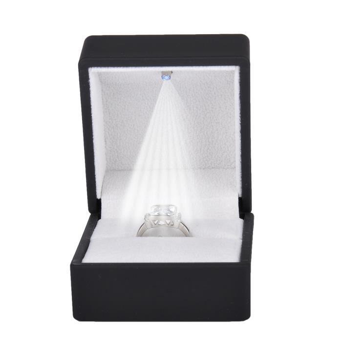 presentoir boite anneaux ecrin bague boite a bijoux cadeau mariage fiancaille noir avec led. Black Bedroom Furniture Sets. Home Design Ideas