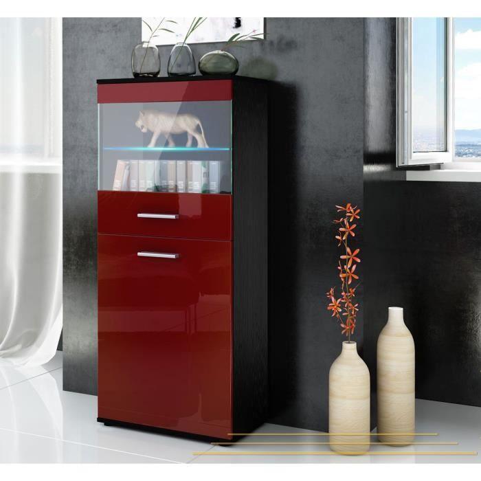 Colonne rangement semi vitr e noir et bordeaux 125cm - Colonne cuisine 30 cm ...