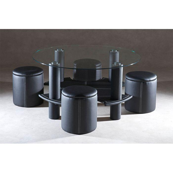 Table Basse 4 Poufs : table basse ronde 4 poufs noir lune achat vente table basse table basse ronde 4 poufs ~ Teatrodelosmanantiales.com Idées de Décoration