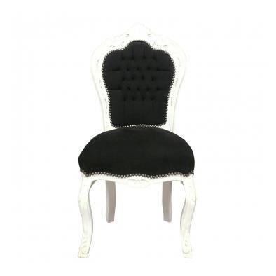 Chaise baroque noire et blanche achat vente chaise noir soldes cdiscount - Chaise baroque blanche ...