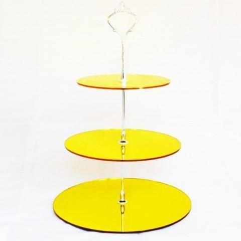 3 niveaux stand de g teau rond en acrylique miroir jaune for Miroir acrylique incassable